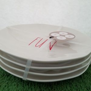"Rae Dunn 8"" Melamine FUN plates NEW Set of 4"